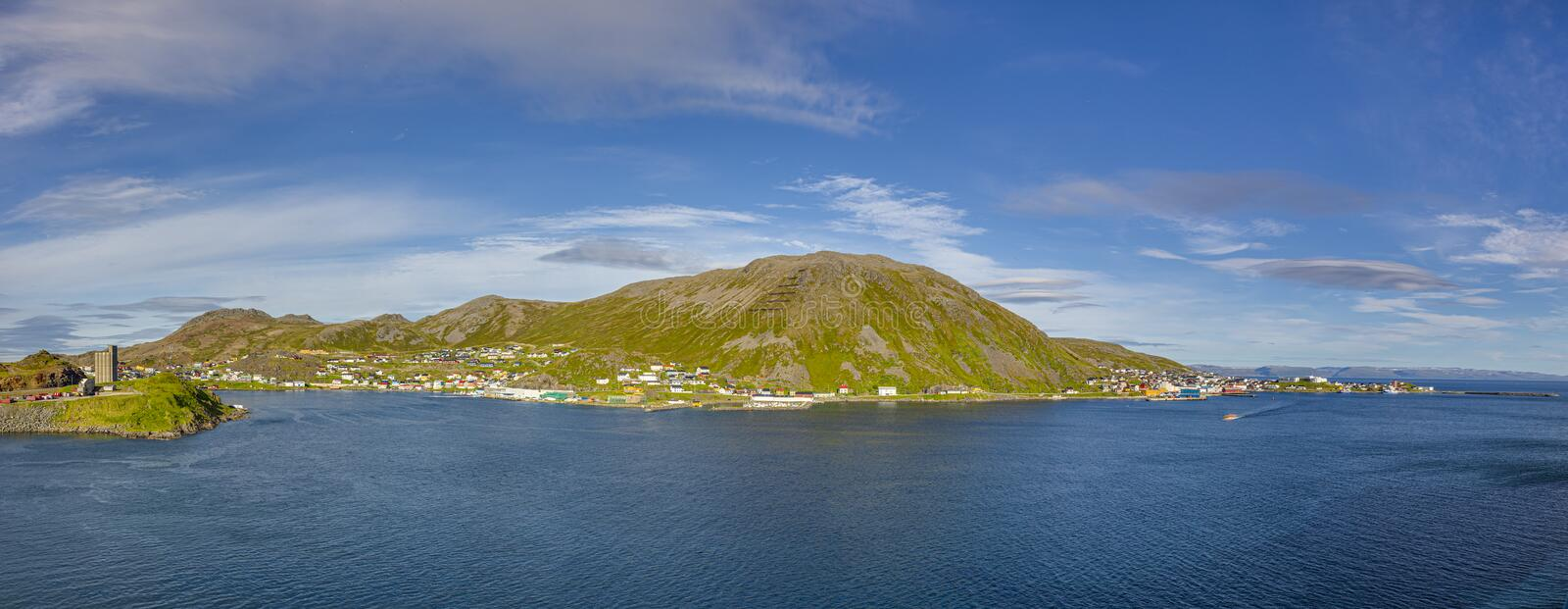 Panoramic picture of isolated Norwegian village of Honningsvag close to north cape in summer. Panoramic picture of isolated Norwegian village of Honningsvag royalty free stock photography