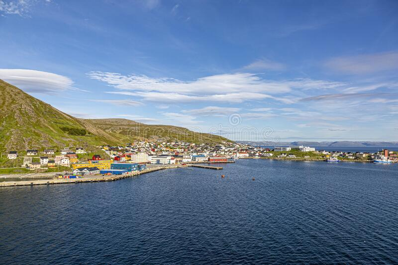 Panoramic picture of isolated Norwegian village of Honningsvag close to north cape in summer. Panoramic picture of isolated Norwegian village of Honningsvag royalty free stock images