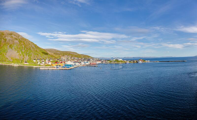 Panoramic picture of isolated Norwegian village of Honningsvag close to north cape in summer. Panoramic picture of isolated Norwegian village of Honningsvag stock images