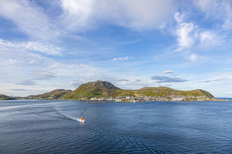 Panoramic picture of isolated Norwegian village of Honningsvag close to north cape in summer. Panoramic picture of isolated Norwegian village of Honningsvag royalty free stock image