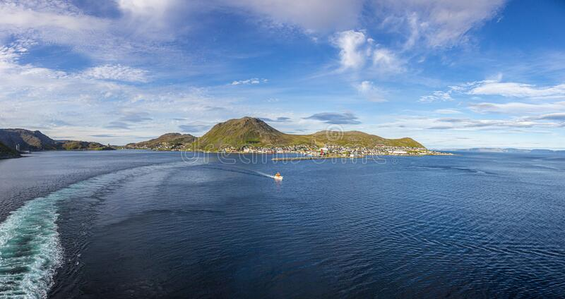Panoramic picture of isolated Norwegian village of Honningsvag close to north cape in summer. Panoramic picture of isolated Norwegian village of Honningsvag royalty free stock photo