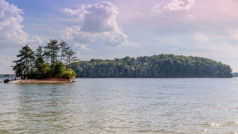 Panoramic picture of lake lanier royalty free stock photo