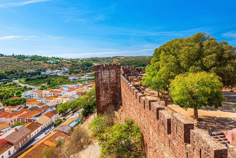 Panoramic picture over courtyard of Castelo de Silves in Portugal without people in summer. Panoramic picture over courtyard of Castelo de Silves in Portugal stock photography