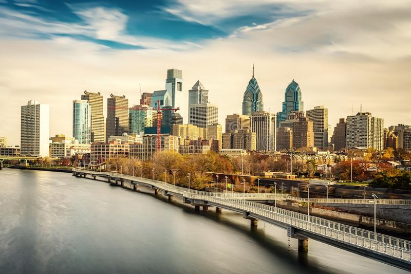 Philadelphia skyline and Schuylkill river, USA. Panoramic picture of Philadelphia skyline and Schuylkill river, PA, USA stock photos