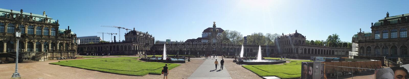 Panoramic picture of Zwinger palace, Dresden, Germany stock images