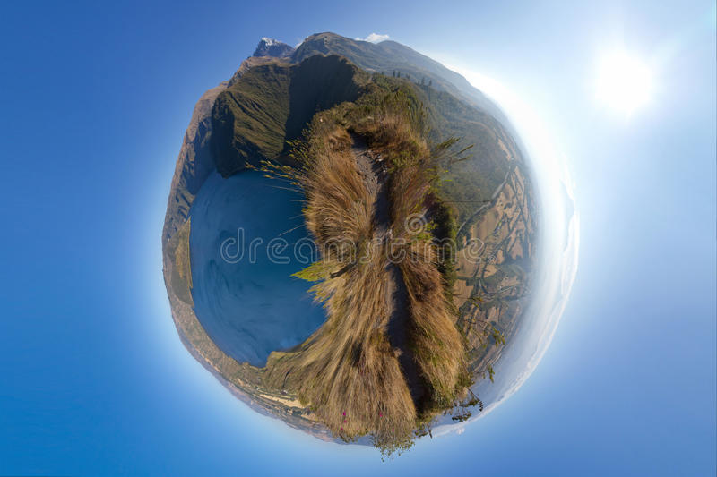Panoramic Planet Of A Lake And Mountains Royalty Free Stock Photography