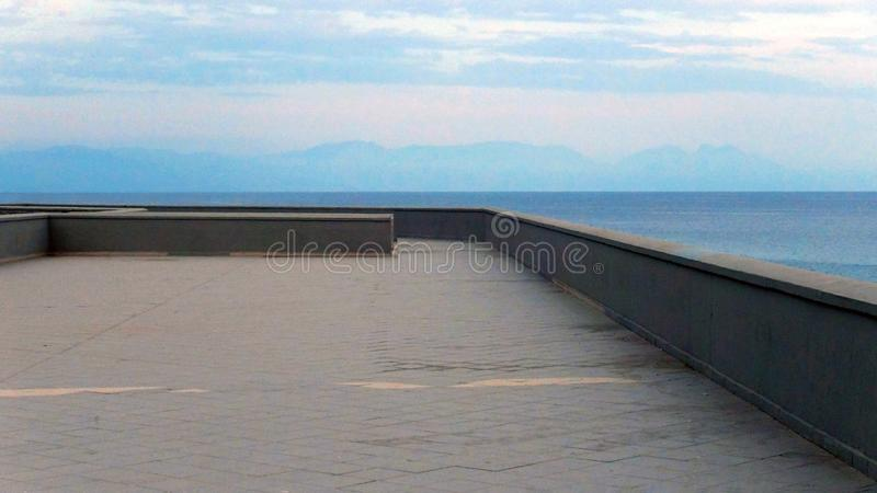 A panoramic platform overlooking the sea. Observation platform, Camerota harbour, Italy stock image