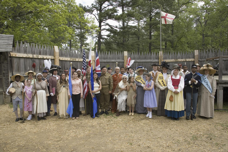 Panoramic portrait of past and present Americans. As they stand in the James Fort, Jamestown Settlement, as part of the 400th Anniversary of Jamestown Colony royalty free stock images