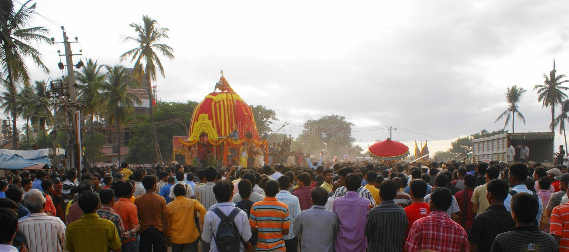 Panoramic Rath Yatra or Juggernaut (Car Festival) royalty free stock photo
