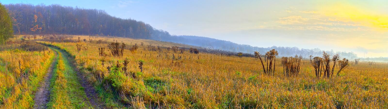 Panoramic rural landscape with sunrise light stock images