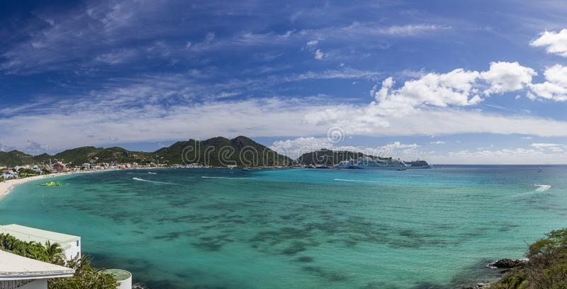 Panoramic of Saint Martin, Sint Maarten: Caribbean Beaches royalty free stock images