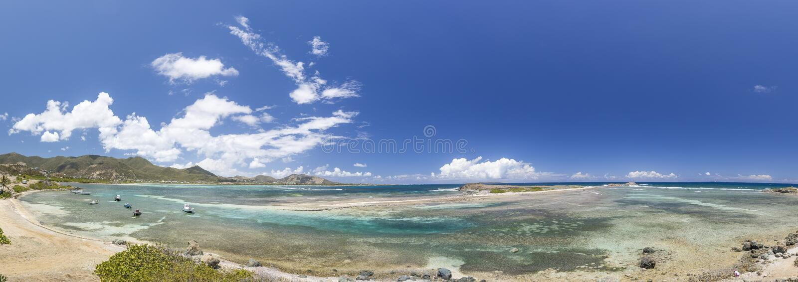 Panoramic of Saint Martin, Sint Maarten: Caribbean Beaches. The best from the Caribbean royalty free stock images