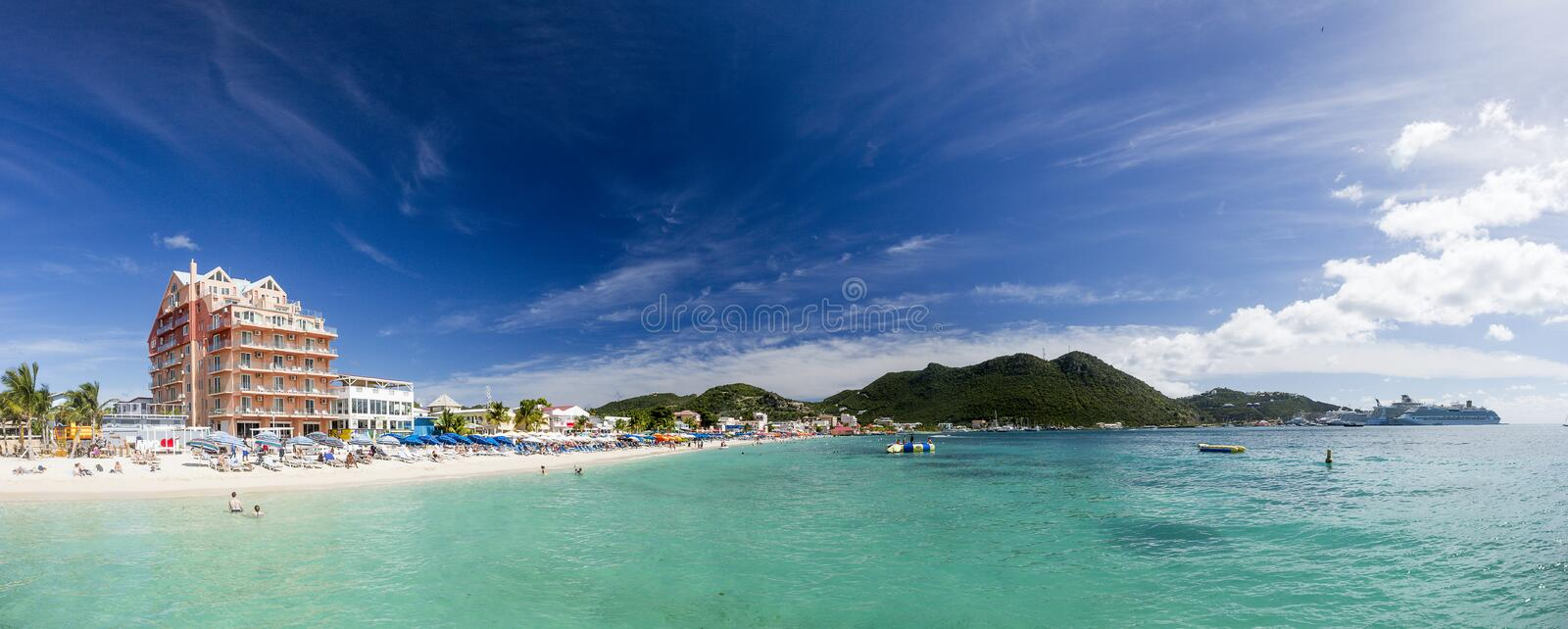 Panoramic of Saint Martin, Sint Maarten: Caribbean Beaches. The best from the Caribbean stock photo
