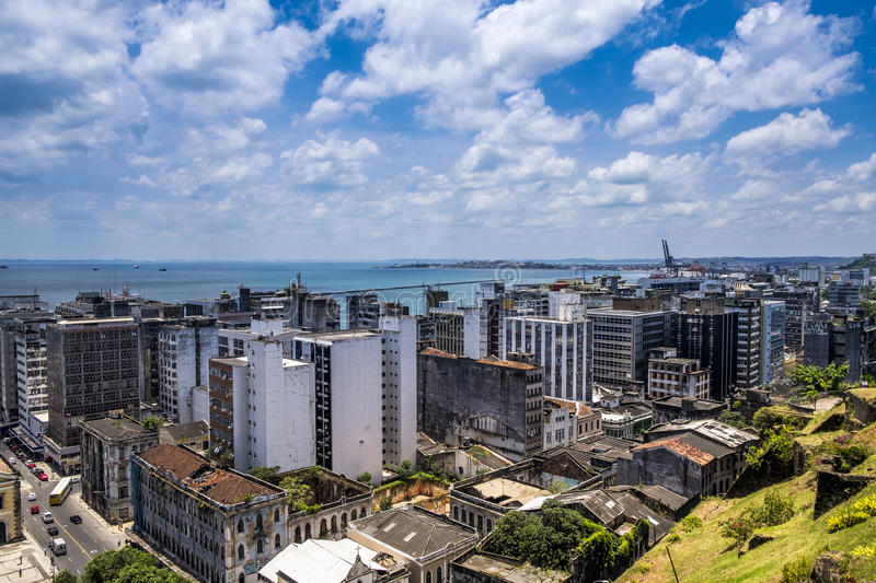 Panoramic of Salvador do Bahia from Elevador Lacerda elevator royalty free stock photos