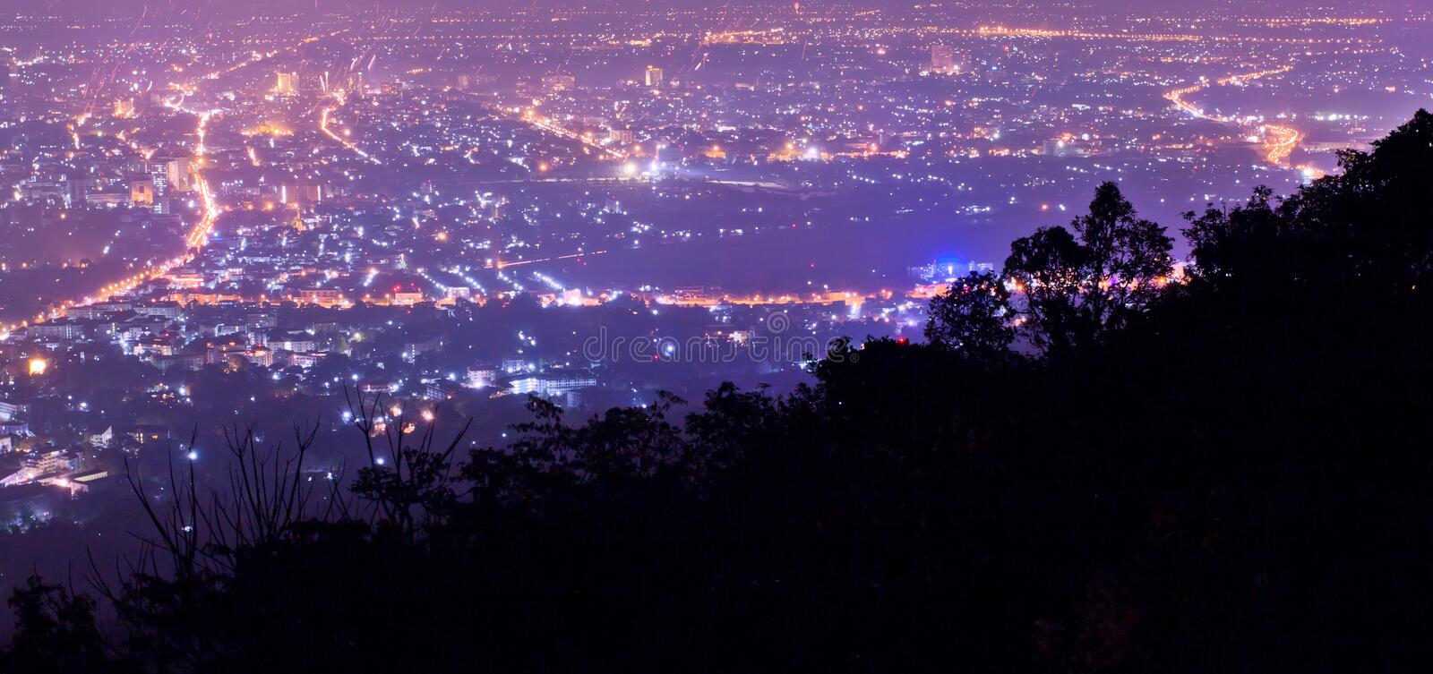 Download Panoramic Scene Of Night City From Mountain Stock Image - Image: 23958793