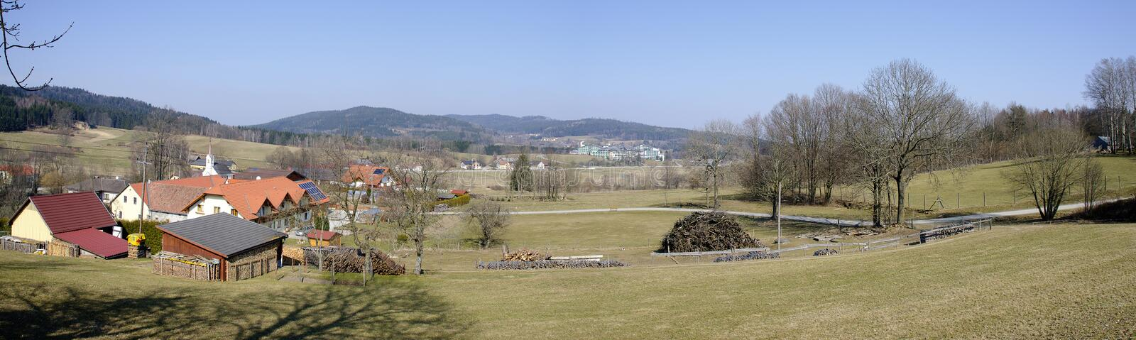 Panoramic scenery view of small villages in Waldviertel. Panoramic scenery view of the small villages Harbach and Lauterbach at forest quarter, Austria in spring stock photos