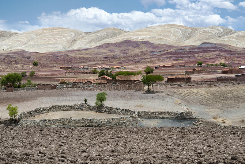 Panoramic scenic landscape at Maragua Crater. View of a village inside the crater of Maragua dormant volcano royalty free stock photo
