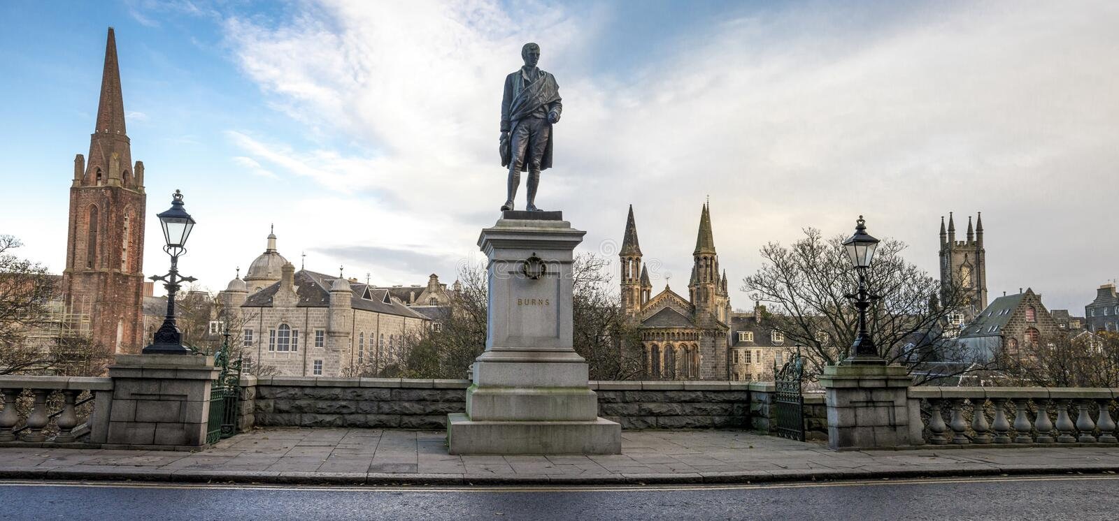 Panoramic scenic view of Aberdeen city centre from Union Terrace and Robert Burns statue, Scotland stock image