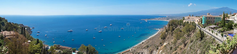 Panoramic scenic view of mediterranean sicilian coastal landscape royalty free stock image