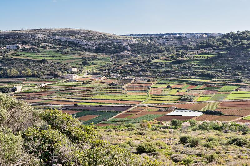 Panoramic scenic view of typical winter Malta fields royalty free stock photos