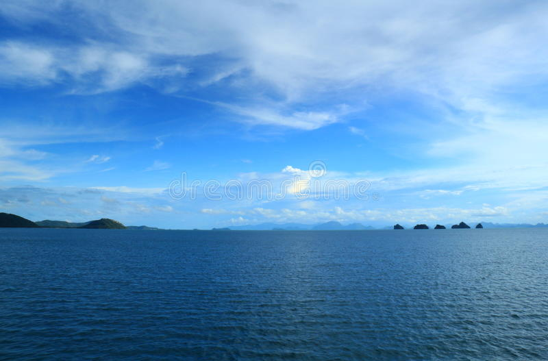Panoramic sea and sky at sunset royalty free stock images