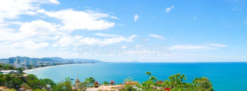 Panoramic sea view from Hua Hin, Thailand royalty free stock photos
