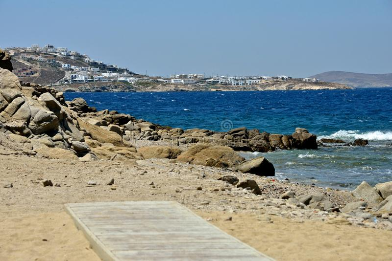 seascape from a sandy beach in Mykonos royalty free stock photos