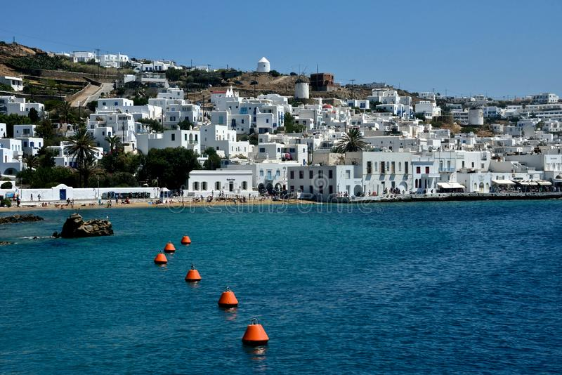 Panoramic seaside view of Mykonos with white buildings stock image