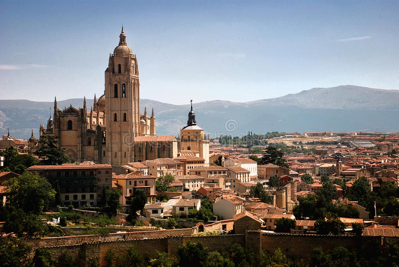 Panoramic of Segovia, Spain royalty free stock images