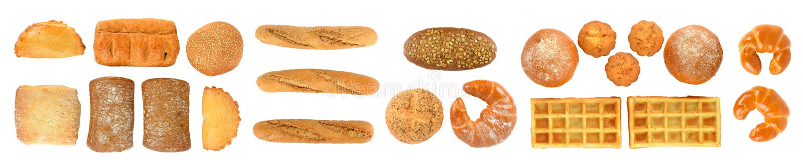 Panoramic set of fresh bread products isolated on white background. Top view. royalty free stock image