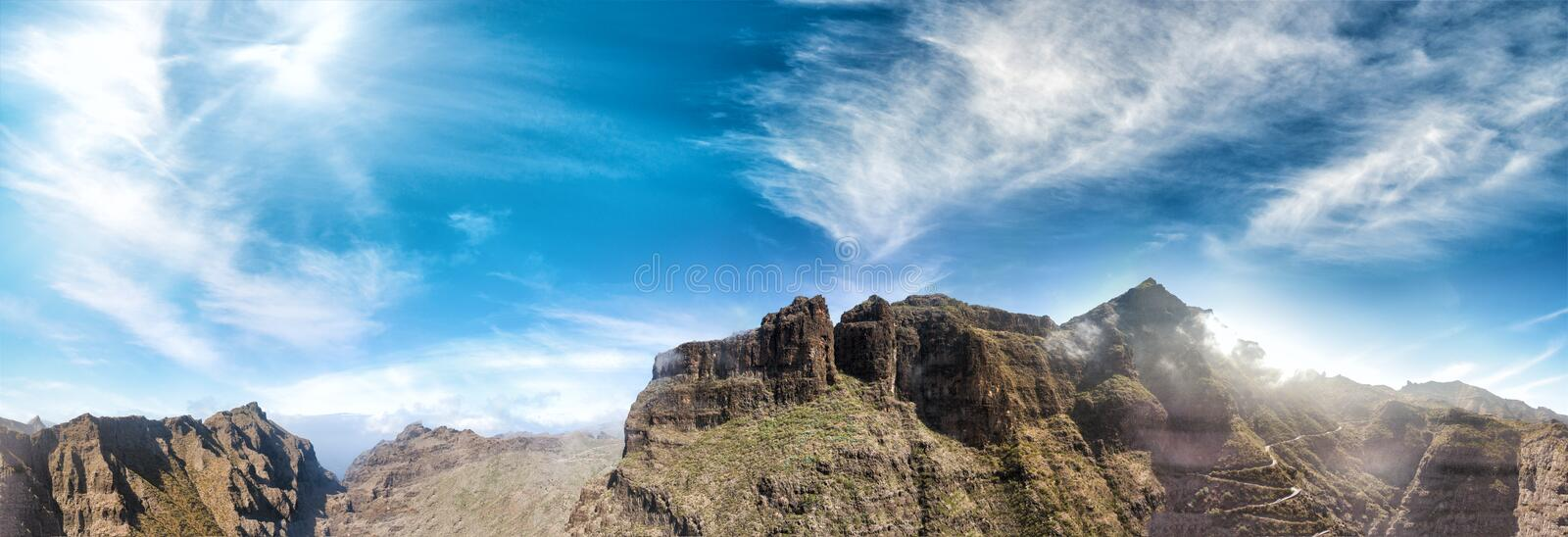Panoramic seunset aerial view of beautiful mountain chain royalty free stock images