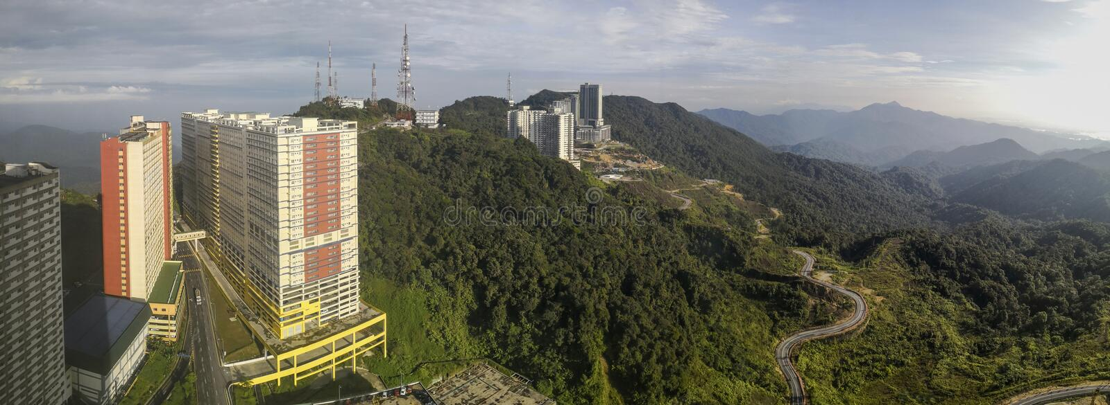 Panoramic shot of Genting Landscape in Bentong, Pahang, Malaysia. Genting Highlands, Malaysia - May 15 2019 stock images