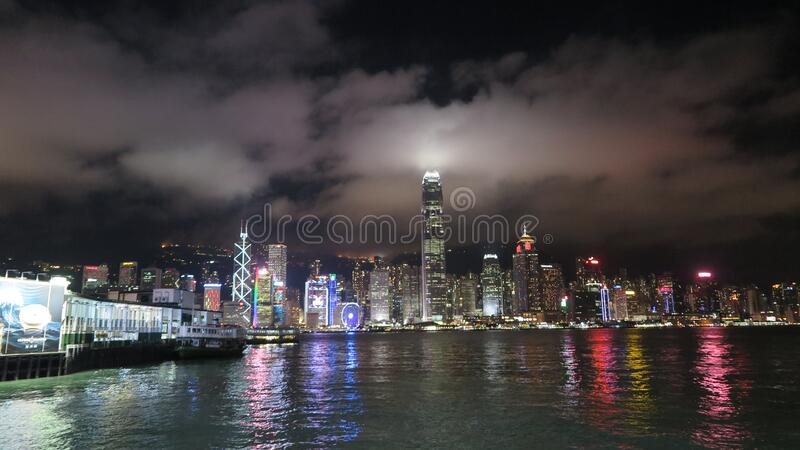 Panoramic Shot of Lighted City Buildings during Night stock photography
