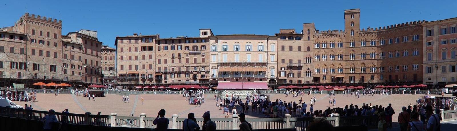 Central square of the Italian city of Siena. Panoramic shot of piazza del campo central square of the italian city of siena stock photo