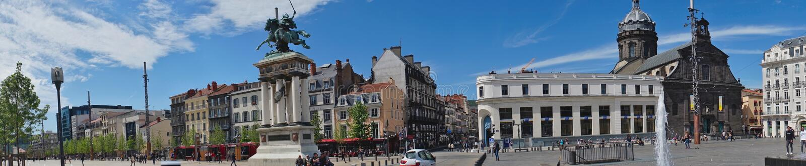 Panoramic shot, Place de Jaude in Clermont-Ferrand stock photos