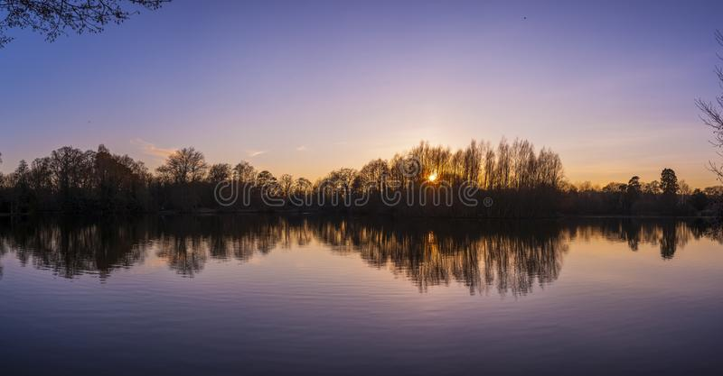 Panoramic shot of the reflections of the trees in the lake during the sunset stock image