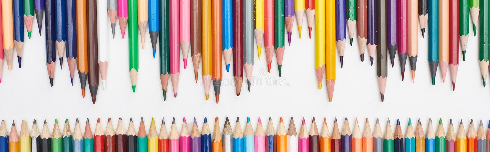 Panoramic shot of rows of sharpened color pencils. Panoramic shot of rows of sharpened color pencils,stock photo royalty free stock photo