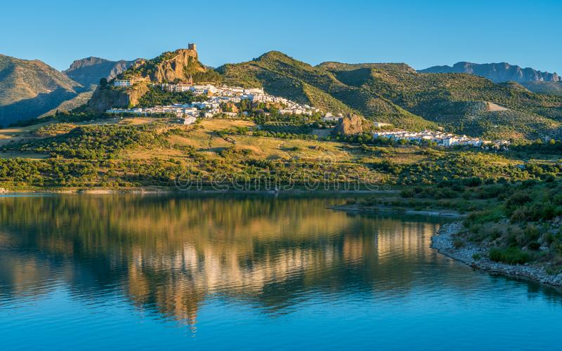 Panoramic sight of the beautiful Zahara de la Sierra, province of Cadiz, Andalusia, Spain. stock photo