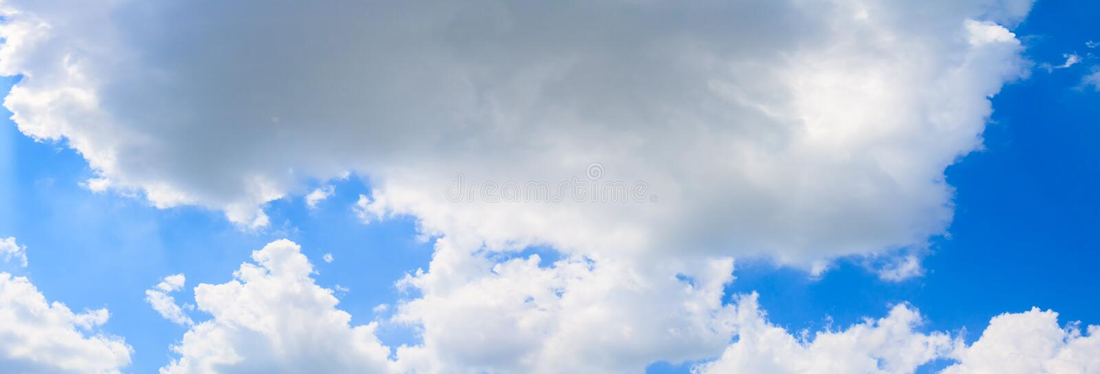 Panoramic sky and cloud summertime beautiful background stock image