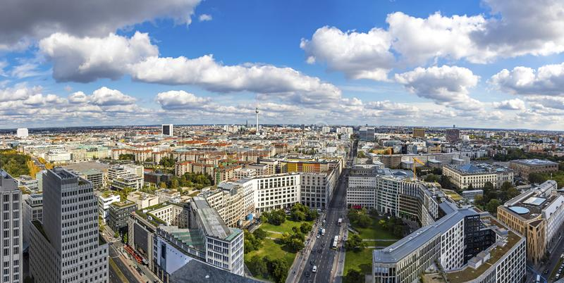 Panoramic skyline aerial view of Berlin city center, Germany stock photography