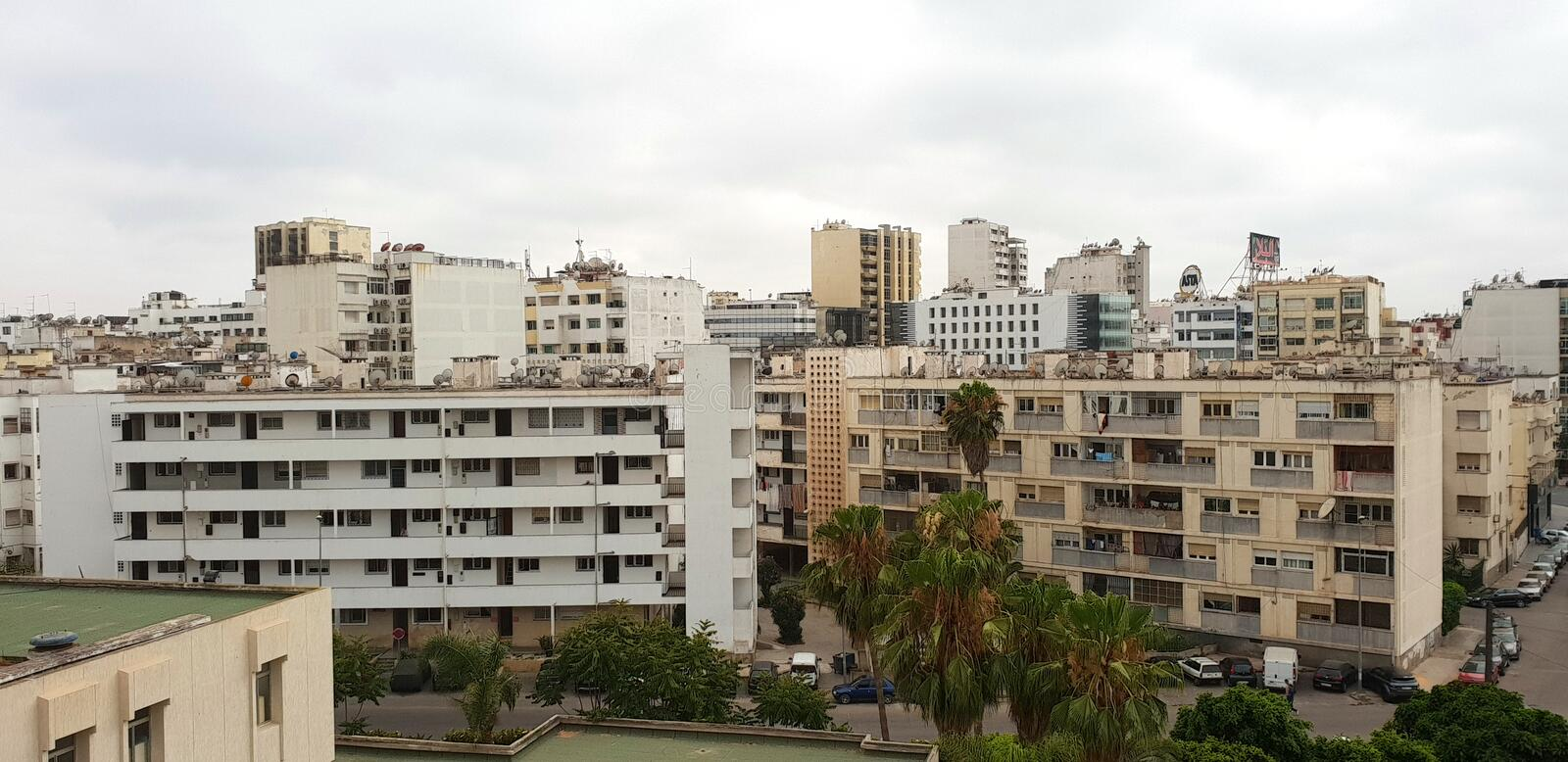 Panoramic skyline and buildings in casablanca, Morocco. CASABLANCA, MOROCCO - July 20: Panoramic skyline and buildings in casablanca, Morocco on luly 20, 2018 stock photography