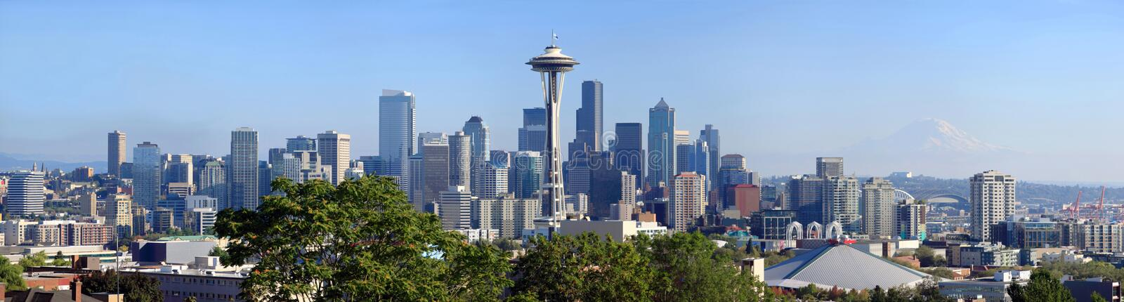 Panoramic skyline of Seattle WA., at midday. royalty free stock image