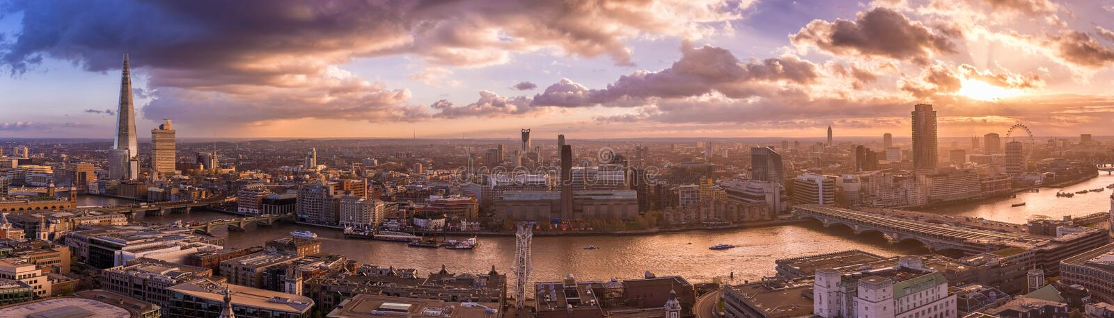 Panoramic skyline of south part of London with beautiful dramatic clouds and sunset - UK. Panoramic skyline of south part of London with beautiful dramatic stock photo