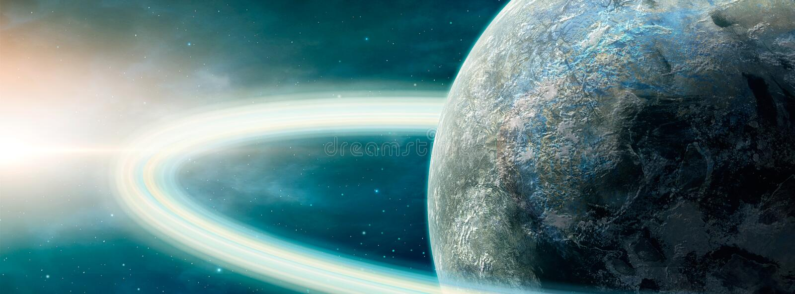 Panoramic space scene. Planet with ring and nebula.. Elements furnished by NASA. 3D rendering.  royalty free illustration