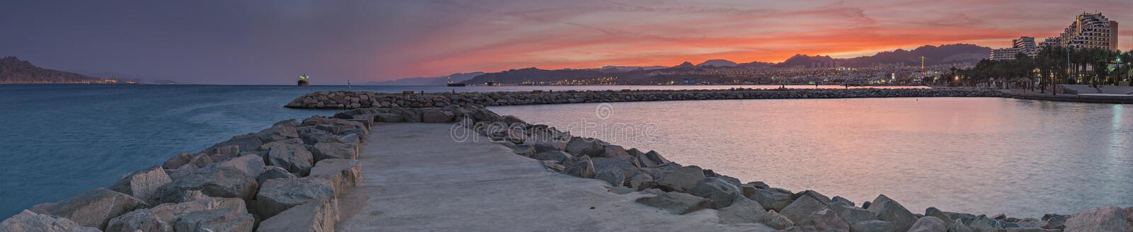 Panoramic spectacular view on Eilat city and Aqaba gulf stock photography