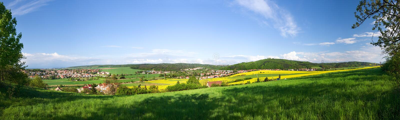 Panoramic spring landscape-6 vertical shots royalty free stock image