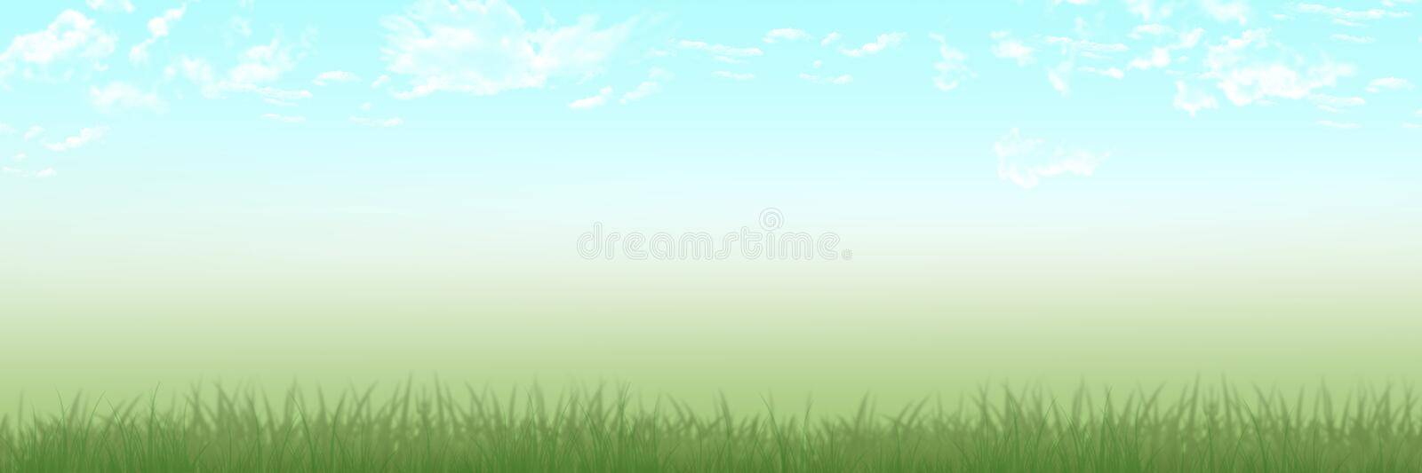 Panoramic Spring and summer scene grass meadow with clear blue skies with clouds background. Perfect for header banner party room for writing royalty free illustration