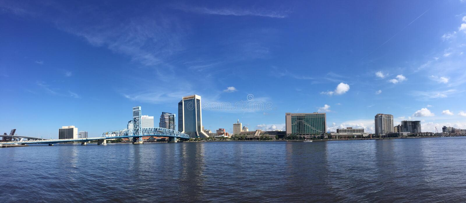 Panoramic of St. John's River and Jacksonville, FL royalty free stock photography