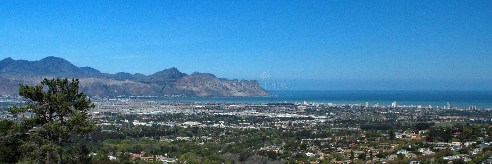 Panoramic of Strand, South Africa stock photography