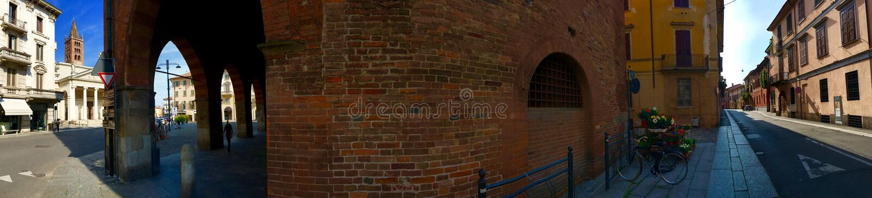 Panoramic street in Cremona Italy stock photography